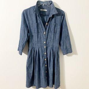 Old Navy Denim Buttoned Shirt Dress Gathered Skirt